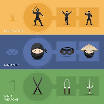 Set di bandiere ninja