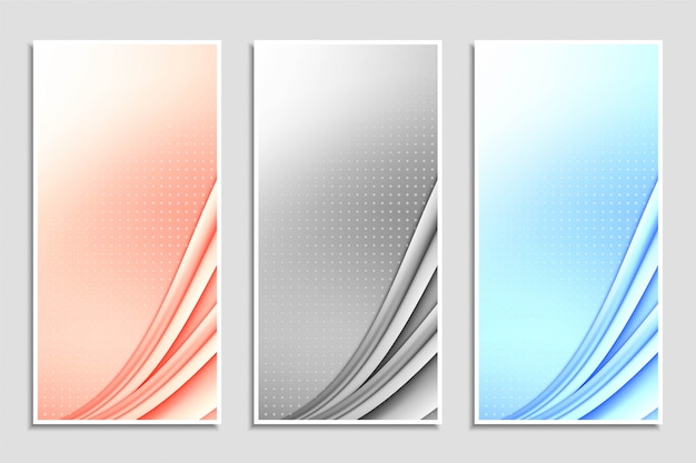 Set di bandiere ondulate colorate astratte