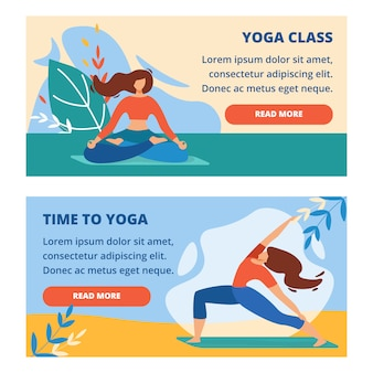 Set di bandiere orizzontali con lezione di yoga all'aperto