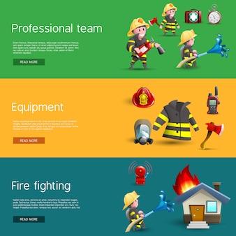 Set di bandiere orizzontali di attrezzature di squadra vigili del fuoco