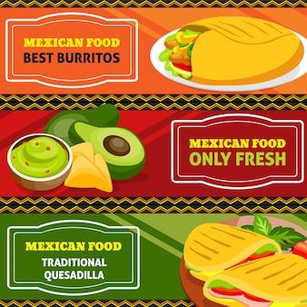 Set di bandiere orizzontali di cibo messicano