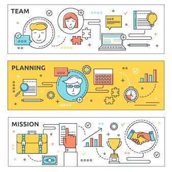Set di bandiere orizzontali di coworking