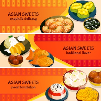 Set di bandiere orizzontali di dolci asiatici