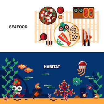 Set di bandiere orizzontali di frutti di mare
