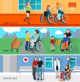 Set di bandiere orizzontali di persone disabili