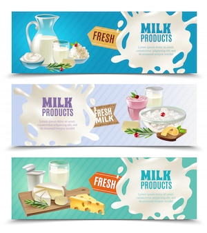Set di bandiere orizzontali di prodotti lattiero-caseari