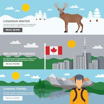 Set di bandiere orizzontali di viaggio canada