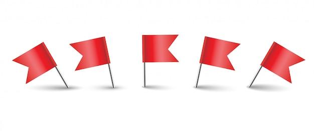 Set di bandiere rosse in posizione diversa. punto marcatore