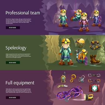 Set di banner 3d interattivi di speleologia