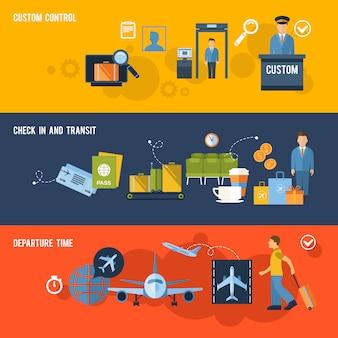 Set di banner aeroporto con elementi di composizione