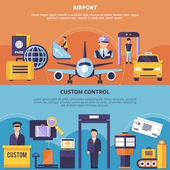 Set di banner aeroporto piatto