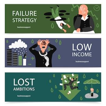 Set di banner aziendali di fallimento