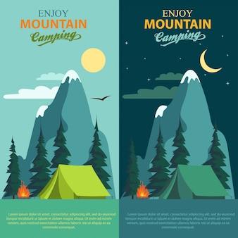 Set di banner campeggio avventura