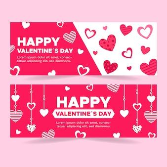 Set di banner carino piatto di san valentino