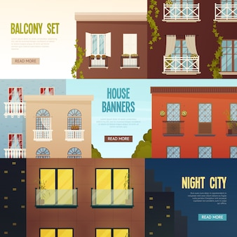 Set di banner casa balcone