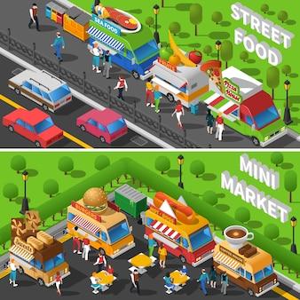 Set di banner cibo di strada