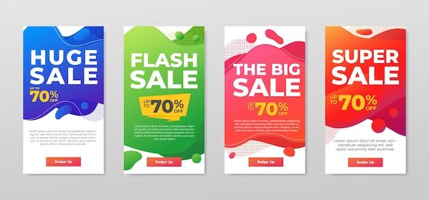 Set di banner colorati in vendita. dinamico design moderno astratto