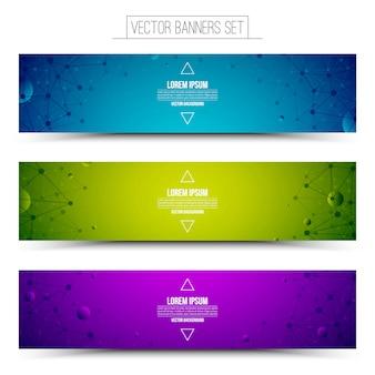 Set di banner colorati tecnologia. attività pubblicitarie su internet. struttura wireframe.