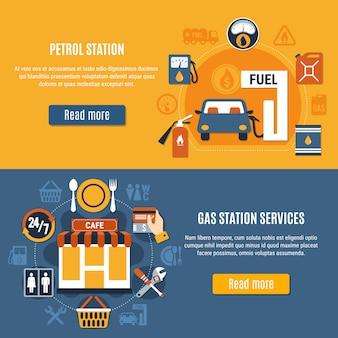 Set di banner con due pompe di benzina