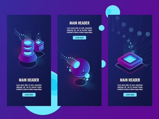Set di banner con icone di server room e database, scienza dei dati