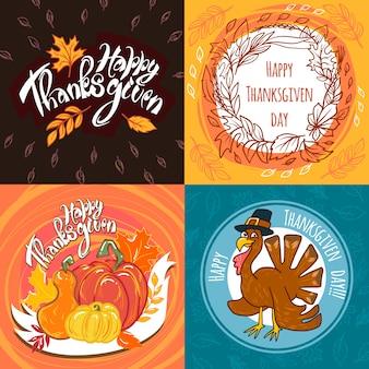 Set di banner del giorno del ringraziamento