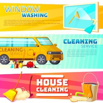 Set di banner del servizio di pulizia