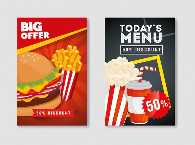 Set di banner dell'offerta delizioso fast food