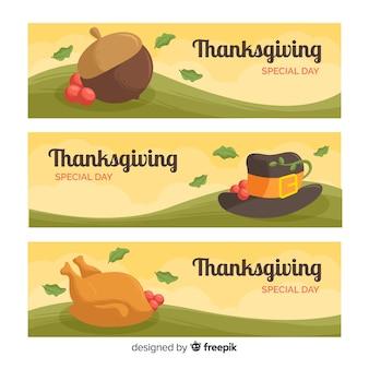 Set di banner design piatto giorno del ringraziamento