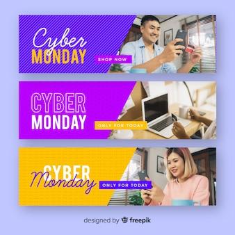Set di banner design piatto lunedì ciber