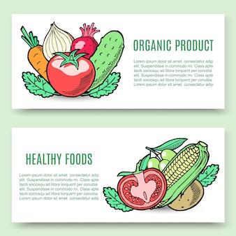 Set di banner di alimenti biologici. mais vegetariano,