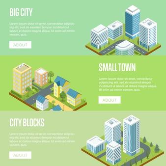 Set di banner di architettura moderna grande città
