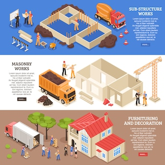 Set di banner di aspetti di costruzione