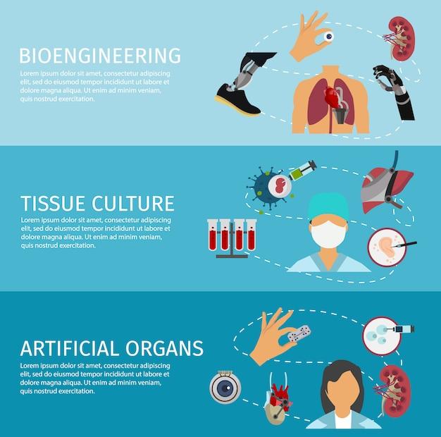Set di banner di biotecnologia