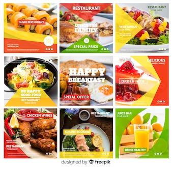 Set di banner di cibo fotografico quadrato
