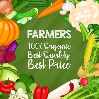 Set di banner di coltivatore di ortaggi biologici