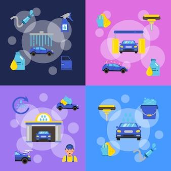 Set di banner di concetto con autolavaggio