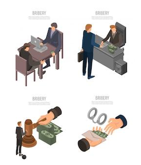 Set di banner di corruzione. insieme isometrico dell'insegna di vettore di corruzione per web design