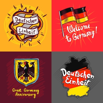Set di banner di deutschen einheit