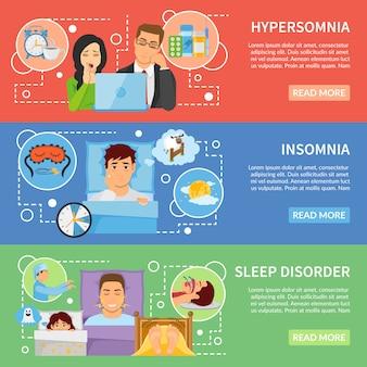 Set di banner di disturbi del sonno