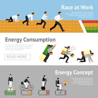 Set di banner di energia uomo d'affari