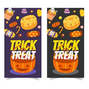 Set di banner di felice halloween invito.