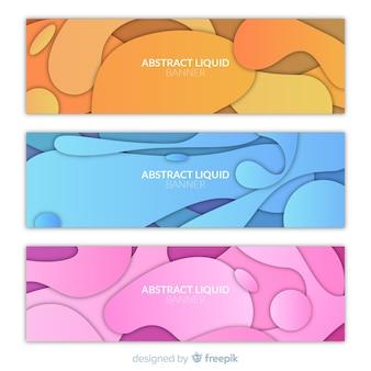 Set di banner di forma liquida superata