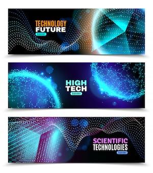 Set di banner di forme geometriche luminescenti