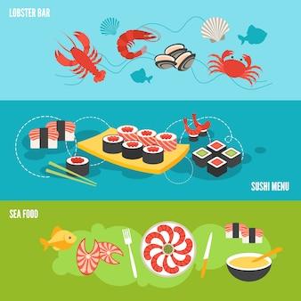 Set di banner di frutti di mare