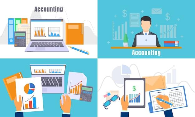 Set di banner di giorno contabilità internazionale.