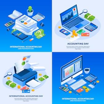 Set di banner di giorno contabilità internazionale