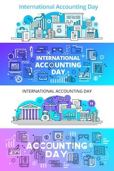 Set di banner di giorno di contabilità
