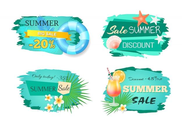 Set di banner di grande vendita estiva