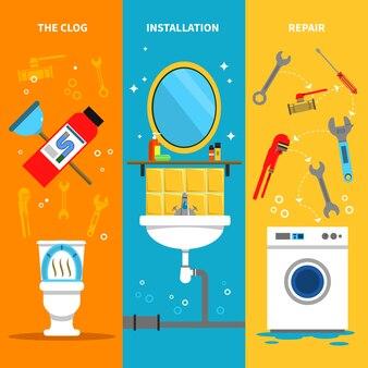 Set di banner di impianti idraulici