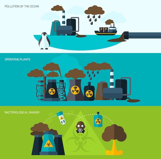 Set di banner di inquinamento